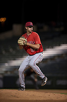 AZL Angels relief pitcher Jacob Voss (35) delivers a pitch during an Arizona League game against the AZL Diamondbacks at Tempe Diablo Stadium on June 27, 2018 in Tempe, Arizona. The AZL Angels defeated the AZL Diamondbacks 5-3. (Zachary Lucy/Four Seam Images)