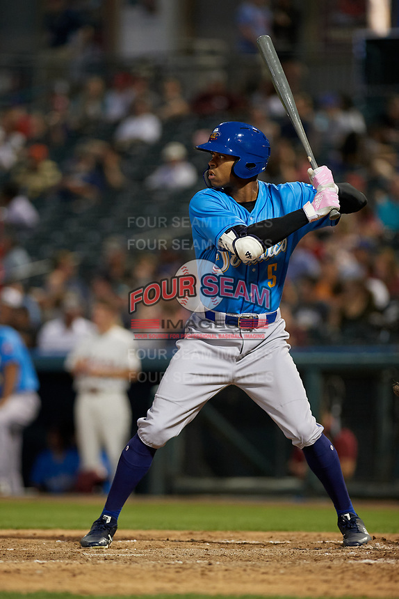 Amarillo Sod Poodles Buddy Reed (5) bats during a Texas League game against the Frisco RoughRiders on May 17, 2019 at Dr Pepper Ballpark in Frisco, Texas.  (Mike Augustin/Four Seam Images)
