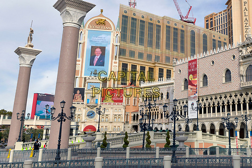 Las Vegas, NV - January 12 : The Venetian Resort honors Sheldon Adelson with a billboard on the day of his passing in Las Vegas, Nevada January 12, 2021. <br /> CAP/MPI/DAM<br /> ©DAM/MPI/Capital Pictures
