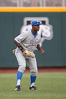 UCLA outfielder Brenton Allen (23) on defense during Game 1 of the 2013 Men's College World Series Finals against the Mississippi State Bulldogs on June 24, 2013 at TD Ameritrade Park in Omaha, Nebraska. The Bruins defeated the Bulldogs 3-1, taking a 1-0 lead in the best of 3 series. (Andrew Woolley/Four Seam Images)