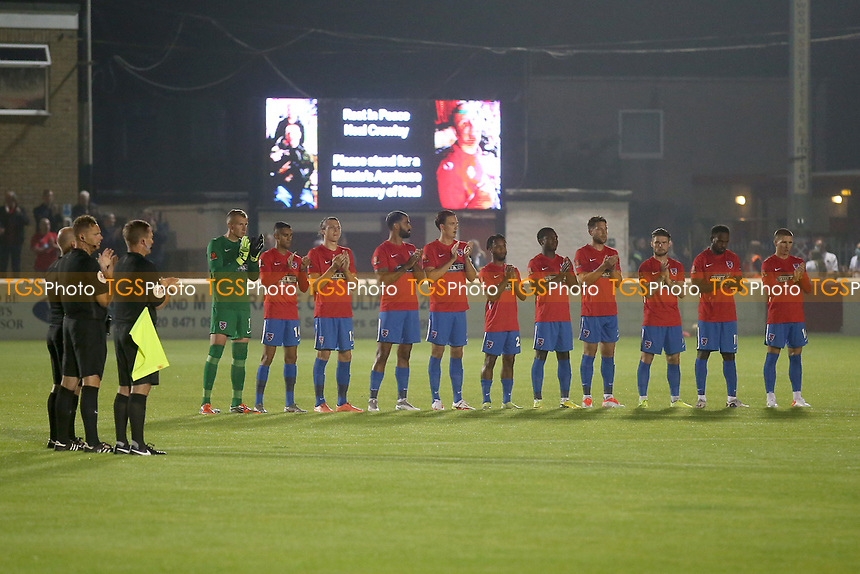 One minute of applause in memory of Neal Crowley during Dagenham & Redbridge vs Weymouth, Vanarama National League Football at the Chigwell Construction Stadium on 14th September 2021