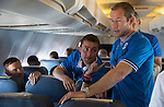 St Johnstone UEFA Cup Qualifyer, Armenia...30.06.15<br /> Steven MacLean, Tam Scobbie and Frazer Wright on the flight over to Armenia<br /> Picture by Graeme Hart.<br /> Copyright Perthshire Picture Agency<br /> Tel: 01738 623350  Mobile: 07990 594431