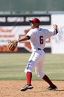 Ben Orloff #6 of the Lancaster JetHawks makes a throw to first base during a game against the Lake Elsinore Storm at Clear Channel Stadium on April 15, 2012 in Lancaster,California. Lake Elsinore defeated Lancaster 7-5.(Larry Goren/Four Seam Images)