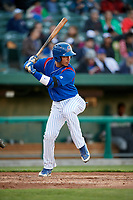 South Bend Cubs first baseman Jhonny Pereda (13) at bat during a game against the Clinton LumberKings on May 5, 2017 at Four Winds Field in South Bend, Indiana.  South Bend defeated Clinton 7-6 in nineteen innings.  (Mike Janes/Four Seam Images)