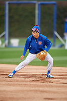 Chicago Cubs second baseman Munenori Kawasaki (66) takes ground balls before Game 3 of the Major League Baseball World Series against the Cleveland Indians on October 28, 2016 at Wrigley Field in Chicago, Illinois.  (Mike Janes/Four Seam Images)