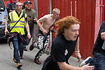 © Joel Goodman - 07973 332324 - all rights reserved . 03/06/2017 . Liverpool , UK . Anti fascists run through streets in an attempt to block the EDL march's progress . Hundreds of police manage a demonstration by the far-right street protest movement , the English Defence League ( EDL ) and an demonstration by opposing anti-fascists , including Unite Against Fascism ( UAF ) . Photo credit : Joel Goodman