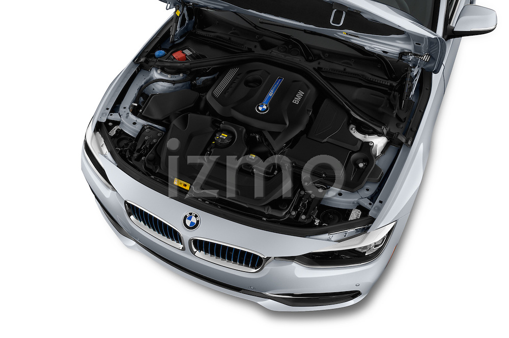 Car Stock 2018 BMW 3-Series 330e-iPerformance 4 Door Sedan Engine  high angle detail view