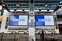 Tampa, FL - Monday, March 04, 2019: Leading women in women's soccer provide insight at a panel discussion during the SheBelieves Tournament at Bar 76 in Raymond James Stadium.