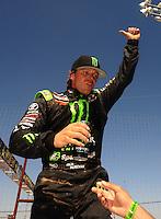 Apr 17, 2011; Surprise, AZ USA; LOORRS driver Rick Huseman (36) celebrates after winning round 4 at Speedworld Off Road Park. Mandatory Credit: Mark J. Rebilas-