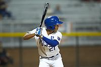 Rafael Romero (21) of the Burlington Royals at bat against the Pulaski Yankees at Burlington Athletic Stadium on August 25, 2019 in Burlington, North Carolina. The Yankees defeated the Royals 3-0. (Brian Westerholt/Four Seam Images)