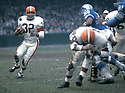 Cleveland Browns Jim Brown (32) during a game from his career with the Browns.  Jim Brown played for 9 years, all with the Browns. Jim Brown was a 9-time Pro Bowler and was inducted to the Pro Football Hall of Fame in 1971.