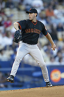 Kirk Rueter of the San Francisco Giants pitches during a 2002 MLB season game against the Los Angeles Dodgers at Dodger Stadium, in Los Angeles, California. (Larry Goren/Four Seam Images)