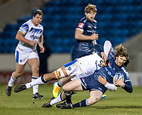 12th February 2021; AJ Bell Stadium, Salford, Lancashire, England; English Premiership Rugby, Sale Sharks versus Bath; Simon Hammersley of Sale Sharks is tackled