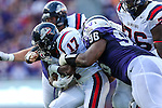Samford Bulldogs running back Krondis Larry (17) in action during the game between the Samford Bulldogs and the TCU Horned Frogs at the Amon G. Carter Stadium in Fort Worth, Texas.  TCU leads Stamford 24 to 7 at halftime.
