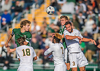 24 September 2016: University of Vermont Catamount Forward Trevor Colazzo, a Sophomore from Hudson, Ohio, battles Dartmouth College Big Green Midfielder Matt Danilack, a Junior from Rockville, MD, and Defender Wyatt Omsberg, a Junior from Scarborough, Maine, at Virtue Field in Burlington, Vermont. The teams played to an overtime 1-1 tie in front of an Alumni Weekend crowd of 1,710 fans. Mandatory Credit: Ed Wolfstein Photo *** RAW (NEF) Image File Available ***