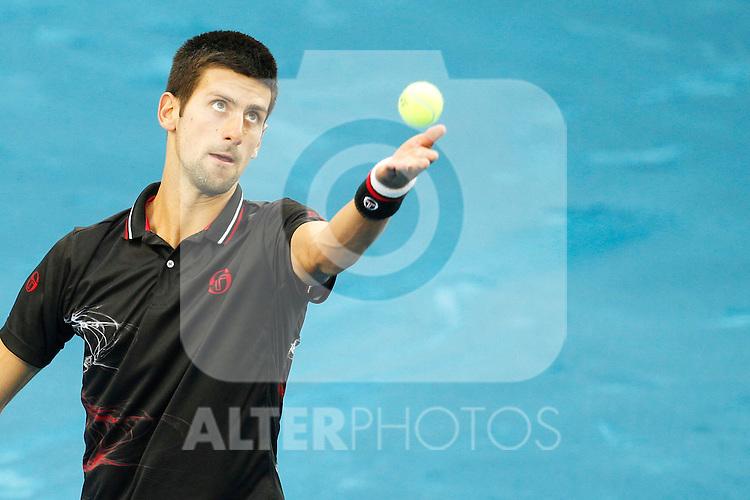 Novak Djokovic during Mutua Madrid Open 2012 match on may 8th 2012...Photo: Cesar Cebolla / ALFAQUI