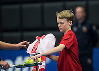 Rotterdam, Netherlands, December 14, 2016, Topsportcentrum, Lotto NK Tennis,   Ballboy gives balls to player<br /> Photo: Tennisimages/Henk Koster