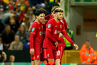 21st September 2021; Carrow Road, Norwich, England; EFL Cup Footballl Norwich City versus Liverpool; Takumi Minamino of Liverpool celebrates with team mates his second goal for 0-3 in the 80th minute