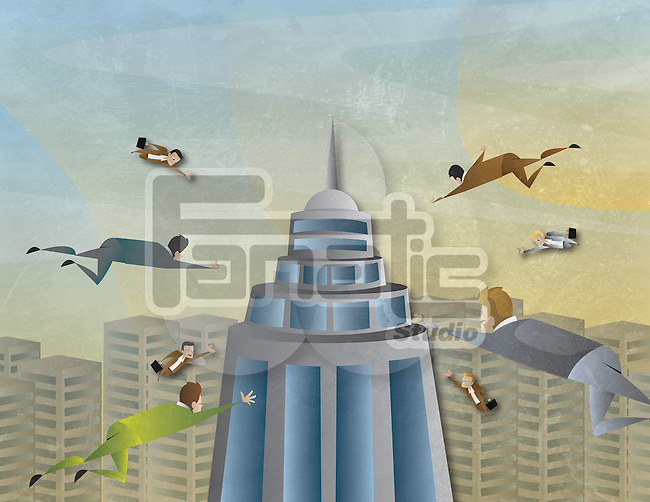 Conceptual illustration of business attraction