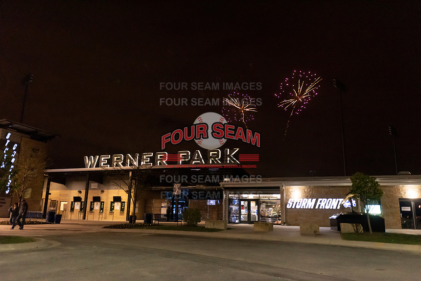 Post-game fireworks following a game between the Omaha Storm Chasers and Memphis Redbirds on April 26, 2019 at Werner Park in Omaha, Nebraska. Memphis defeated Omaha 7-3. (Zachary Lucy/Four Seam Images)