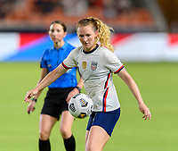 HOUSTON, TX - JUNE 10: Samantha Mewis #3 of the United States gains control of a loose ball during a game between Portugal and USWNT at BBVA Stadium on June 10, 2021 in Houston, Texas.