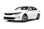 Stock pictures of low aggressive front three quarter view of 2016 KIA Optima LX Turbo 4 Door Sedan