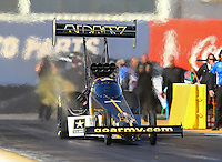 Feb 3, 2016; Chandler, AZ, USA; NHRA top fuel driver Tony Schumacher during pre season testing at Wild Horse Pass Motorsports Park. Mandatory Credit: Mark J. Rebilas-USA TODAY Sports