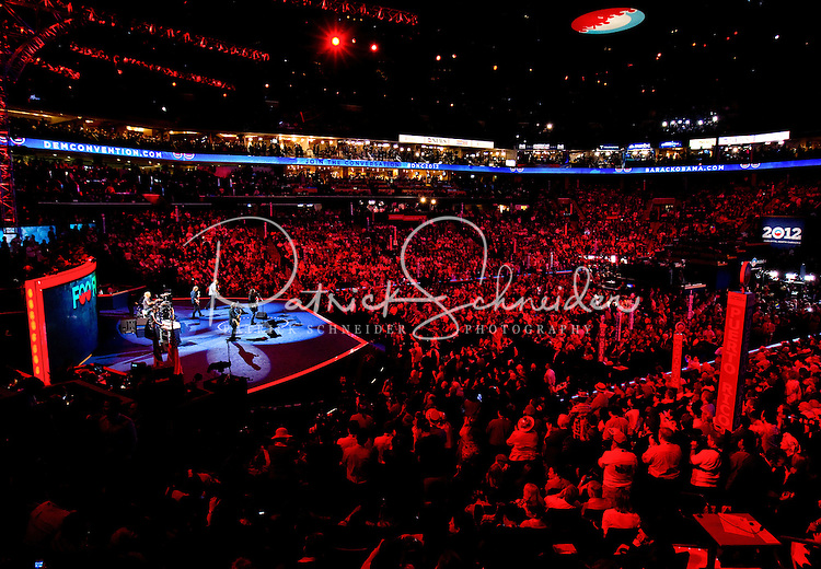 The Foo Fighters perform at the Democratic National Convention at the Time Warner Cable Arena in Charlotte, North Carolina