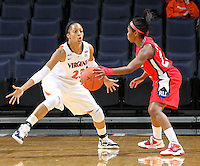 Dec. 6, 2010; Charlottesville, VA, USA; Virginia Cavaliers guard Ataira Franklin (23) defends Radford Highlanders guard Da'Naria Erwin-Spencer (22) at the John Paul Jones Arena.  Mandatory Credit: Andrew Shurtleff