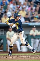 Michigan Wolverines designated hitter Riley Bertram (12) at bat against the Vanderbilt Commodores during Game 3 of the NCAA College World Series Finals on June 26, 2019 at TD Ameritrade Park in Omaha, Nebraska. Vanderbilt defeated Michigan 8-2 to win the National Championship. (Andrew Woolley/Four Seam Images)