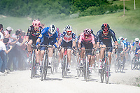 """peloton led by Filippo Ganna (ITA/INEOS Grenadiers) & Rémi Cavagna (FRA/Deceuninck - QuickStep) over the first gravel sector of this stage with Maglia Rosa / Pink Jersey / GC leader Egan Bernal (COL/Ineos Grenadiers) & Vincenzo Nibali (ITA/Trek-Segafredo) on the 2nd row.<br /> <br /> 104th Giro d'Italia 2021 (2.UWT)<br /> Stage 11 from Perugia to Montalcino (162km)<br /> """"the Strade Bianche stage""""<br /> <br /> ©kramon"""