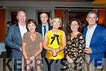 L-R John&Breda Switzer with John, Eileen, Geraldine&Christy Counihan enjoying the Lee Strand social last Saturday night in the Ballygarry House hotel, Tralee.