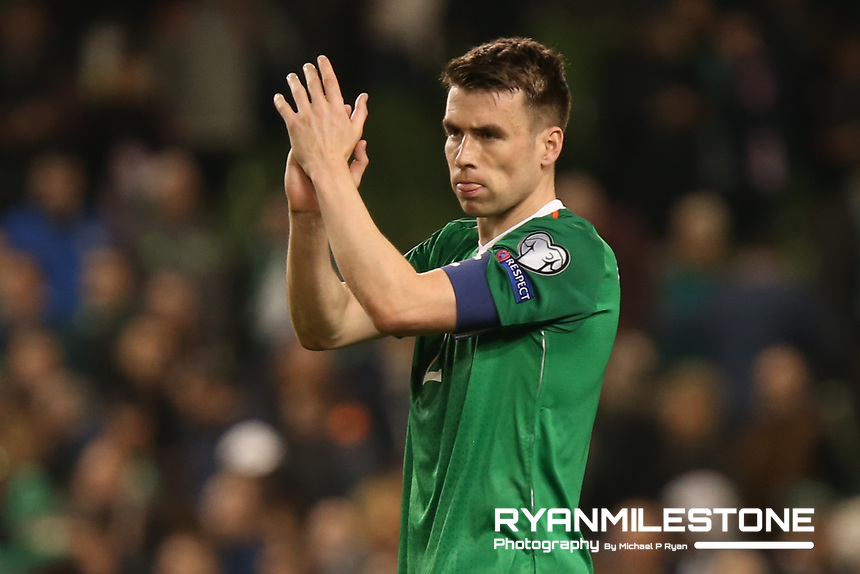 European Championship 2020<br /> Qualifying Round <br /> Rep of Ireland v Georgia<br /> Tuesday 26th March 2019,<br /> Aviva Stadium, Dublin.<br /> Seamus Coleman of Republic of Ireland celebrates at the end of the game.<br /> Mandatory Credit: Michael P Ryan