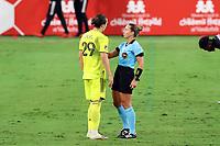 NASHVILLE, TN - SEPTEMBER 23: Referee Tori Penso talks to Alex Muyl #29 of Nashville SC during a game between D.C. United and Nashville SC at Nissan Stadium on September 23, 2020 in Nashville, Tennessee.