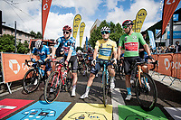 jersey showdown at the race start in Saint-Martin-le-Vinoux:<br /> - yellow/GC: Alexey Lutsenko (KAZ/Astana - Premier Tech)<br /> - green/points: Sonny Colbrelli (ITA/Bahrain - Victorious)<br /> - polka dots/KOM: Matthew Holmes (GBR/Lotto Soudal)<br /> <br /> 73rd Critérium du Dauphiné 2021 (2.UWT)<br /> Stage 7 from Saint-Martin-le-Vinoux to La Plagne (171km)<br /> <br /> ©kramon