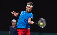 The Hague, The Netherlands, September 17, 2017,  Sportcampus , Davis Cup Netherlands - Chech Republic, Third match : Jiri Vesely (CZE)<br /> Photo: Tennisimages/Henk Koster