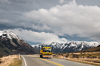 Road towards Porters Pass with truck, Canterbury, New Zealand