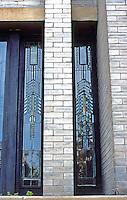 F.L. Wright: Dana House. Detail--leaded glass casement windows in East Wing.  Photo '78.