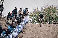 Maud Kaptheijns (NED/Crelan-Charles) leading the race (from start to finish)<br /> <br /> Women's Elite race<br /> <br /> UCI cyclocross World Cup Koksijde / Belgium 2017