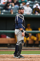 Pensacola Blue Wahoos catcher Bryan Anderson (22) during a game against the Jacksonville Suns on April 20, 2014 at Bragan Field in Jacksonville, Florida.  Jacksonville defeated Pensacola 5-4.  (Mike Janes/Four Seam Images)
