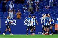 22nd September 2021: RCDE Stadium, Barcelona, Spain: La Liga Football, Espanyol versus Atletico Madrid; <br /> Raul de Tomas of RCD Espanyol celebrates a goal