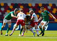 24th April 2021; Brentford Community Stadium, London, England; Gallagher Premiership Rugby, London Irish versus Harlequins; Joe Marler of Harlequins tackles Albert Tuisue of London Irish