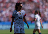 PARIS,  - JUNE 16: Christen Press #23 looks for the ball during a game between Chile and USWNT at Parc des Princes on June 16, 2019 in Paris, France.