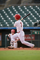 Palm Beach Cardinals Scott Hurst (7) bats during a Florida State League game against the Clearwater Threshers on August 11, 2019 at Roger Dean Chevrolet Stadium in Jupiter, Florida.  Palm Beach defeated Clearwater 4-1.  (Mike Janes/Four Seam Images)