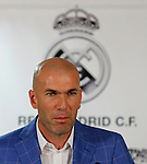 Zinedine Zidane during his presentation as Real Madrid´s new coach at Santiago Bernebeu stadium Madrid, Spain. January 04, 2016. (ALTERPHOTOS/B. Echavarri)