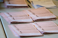 Pictured: Ballot papers during the Swansea West and South West Wales Regional Election Count at Brangwyn Hall in Swansea, Wales, UK. Friday 07 May 2020
