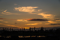 Sunset paints the clouds, creates tree silhouettes and casts reflections on the waters at the MLK Regional Shoreline.