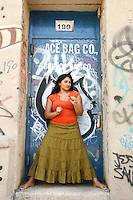 Writer, Comedian and Performer, Shabana Rehman in the DUMBO section of Brookly, NY.  Rehman, 36, was born in Karachi, Pakistan and raised in Oslo, Norway.