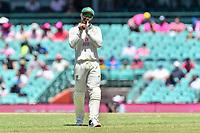 9th January 2021; Sydney Cricket Ground, Sydney, New South Wales, Australia; International Test Cricket, Third Test Day Three, Australia versus India; Matthew Wade of Australia shines the ball