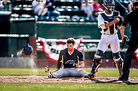 20 June 2021: Westfield Starfires outfielder Cole Bartels, from Arlington, MA, shows some frustration as he is called out at the plate during a game against the Vermont Lake Monsters at Centennial Field in Burlington, Vermont. The Starfires defeated the Vermont Lake Monsters 10-2 at Centennial Field, in Burlington, Vermont. Mandatory Credit: Ed Wolfstein Photo *** RAW (NEF) Image File Available ***